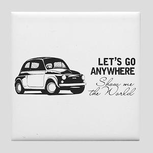 Vintage Fiat 500 World Travel Design Tile Coaster