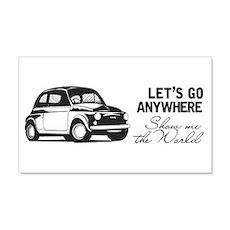 Vintage Fiat 500 World Travel Des Wall  Decal Sticker