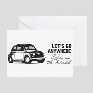 Vintage Fiat 500 World Travel Greeting Cards