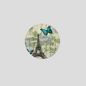 floral paris vintage eiffel tower Mini Button