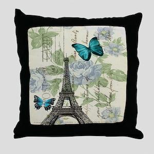 floral paris vintage eiffel tower Throw Pillow