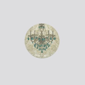 shabby chic damask vintage chandelier Mini Button