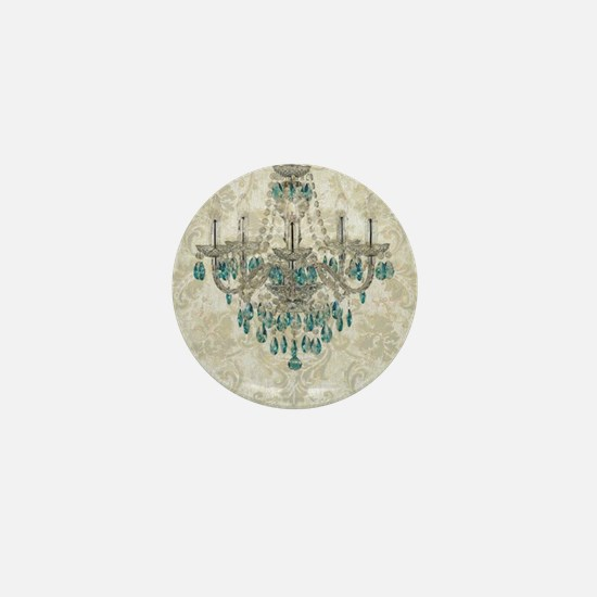 shabby chic damask vintage chandelier Mini Button
