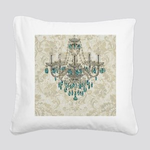 shabby chic damask vintage ch Square Canvas Pillow