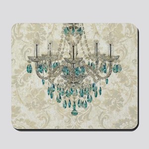 shabby chic damask vintage chandelier Mousepad