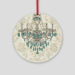 shabby chic damask vintage chandeli Round Ornament