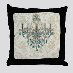 shabby chic damask vintage chandelier Throw Pillow