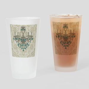 shabby chic damask vintage chandeli Drinking Glass