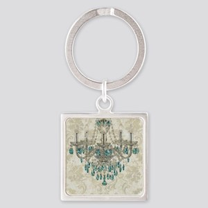 shabby chic damask vintage chandel Square Keychain
