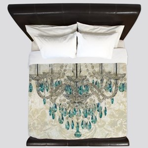 shabby chic damask vintage chandelier King Duvet