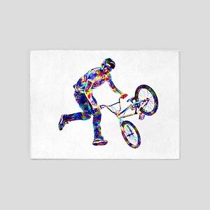 Super Crayon Colored BMX Rider Perf 5'x7'Area Rug