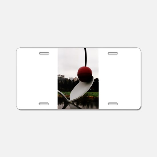 Cherry and Spoon Aluminum License Plate