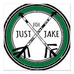 Just For Jake Logo - Green Square Car Magnet 3