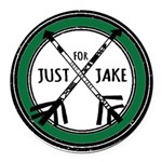 Just For Jake Logo - Green Round Car Magnet