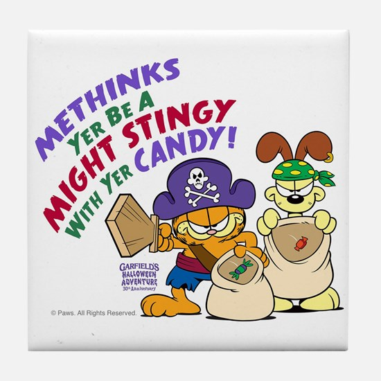 Garfield Stingy Candy Tile Coaster