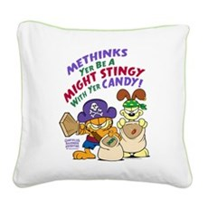 Garfield Stingy Candy Square Canvas Pillow