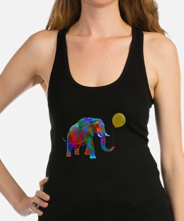 Crayon Colored Elephant with Yellow Ballo Tank Top
