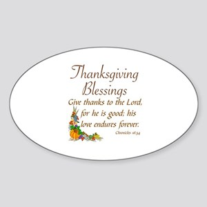 THANKSGIVING BLESSINGS -CHRONICLES  Sticker (Oval)