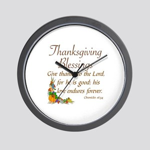 THANKSGIVING BLESSINGS -CHRONICLES 16:3 Wall Clock