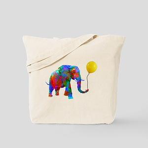 Crayon Colored Elephant with Yellow Ballo Tote Bag