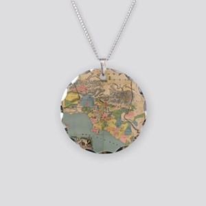 Vintage Map of Los Angeles C Necklace Circle Charm