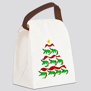 Funny Alligator Christmas Tree Canvas Lunch Bag