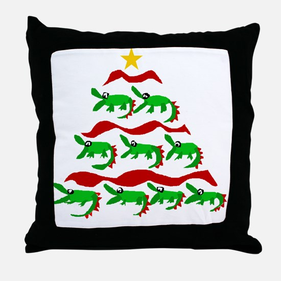 Funny Alligator Christmas Tree Throw Pillow