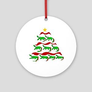 Funny Alligator Christmas Tree Round Ornament