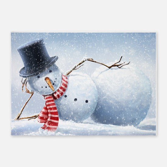 Relaxed Snowman 5'x7'Area Rug