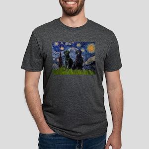 Starry Night & Black Labrador Ash Grey T-Shirt