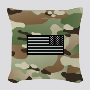 Woodland Camouflage Pattern wi Woven Throw Pillow
