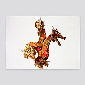 Three Headed Copper Dragon 5'x7'Area Rug