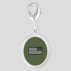 IR U.S. Flag on Military Green Silver Oval Charm