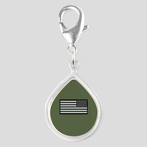 IR U.S. Flag on Military Gr Silver Teardrop Charm