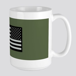 IR U.S. Flag on Military Green Backgrou Large Mug