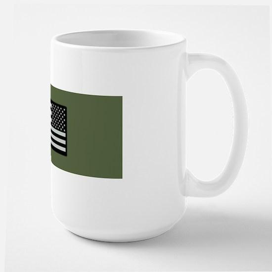 IR U.S. Flag on Military Green Backgrou Large Mug