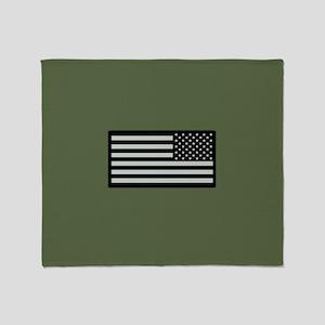 IR U.S. Flag on Military Green Backg Throw Blanket