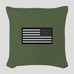 IR U.S. Flag on Military Green Woven Throw Pillow