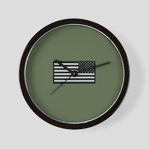 IR U.S. Flag on Military Green Backgrou Wall Clock