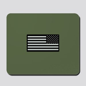 IR U.S. Flag on Military Green Backgroun Mousepad