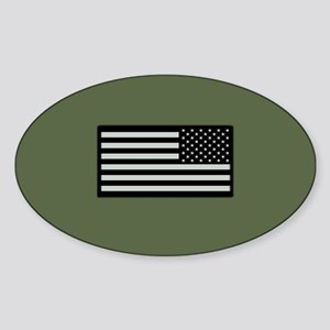 IR U.S. Flag on Military Green Back Sticker (Oval)