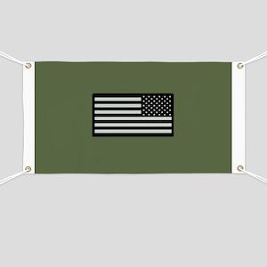 IR U.S. Flag on Military Green Background Banner