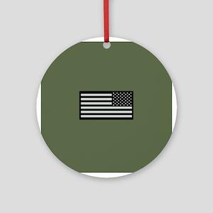 IR U.S. Flag on Military Green Back Round Ornament