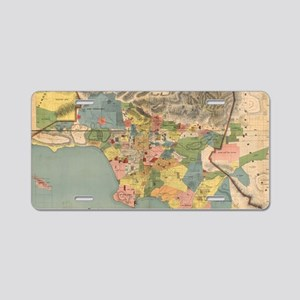 Vintage Map of Los Angeles Aluminum License Plate