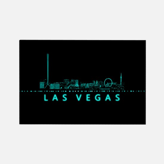 Digital Cityscape: Las Vegas, Nev Rectangle Magnet