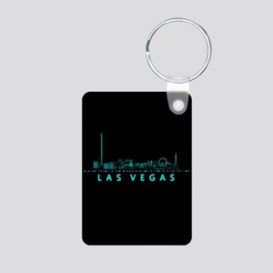 Digital Cityscape: Las Veg Aluminum Photo Keychain