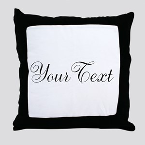Personalizable Black Script Throw Pillow
