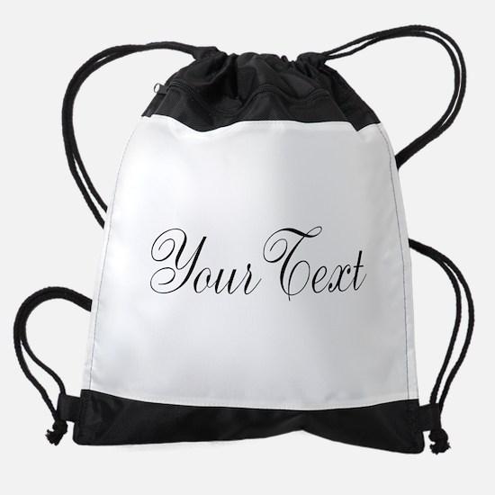Personalizable Black Script Drawstring Bag