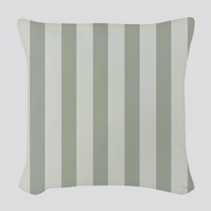 Sage Green Stripes Woven Throw Pillow