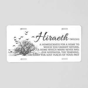 Hiraeth Welsh Nostalgia Aluminum License Plate